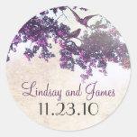 purple tree love birds wedding stickers