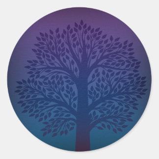 Purple Tree Round Sticker