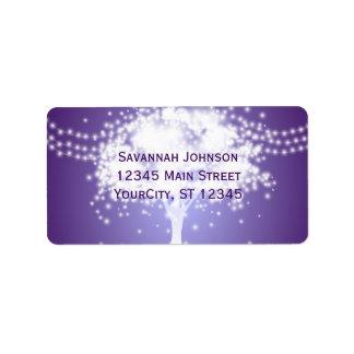 Purple Tree String Lights Custom Address Labels
