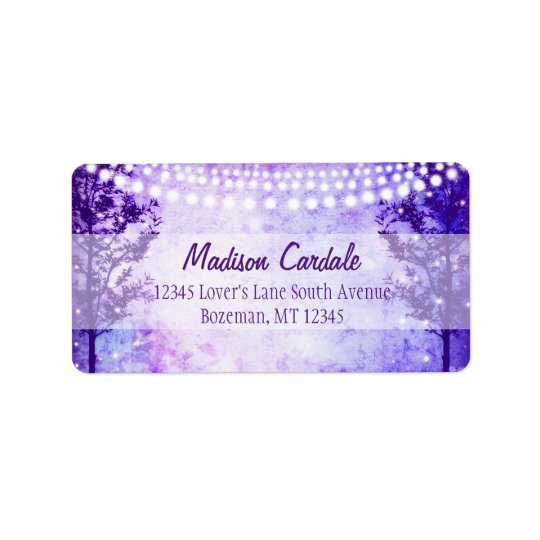 Purple Tree String Lights Wedding Address Labels