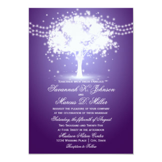 Purple Tree String Lights Wedding Invitations