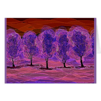 Purple Trees (Red Background) Card