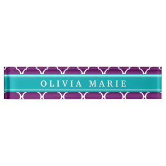 Purple Trellis Pattern Turquoise Name Name Plate