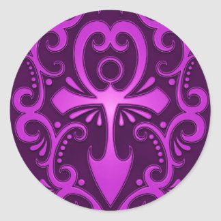 Purple Tribal Ankh Classic Round Sticker