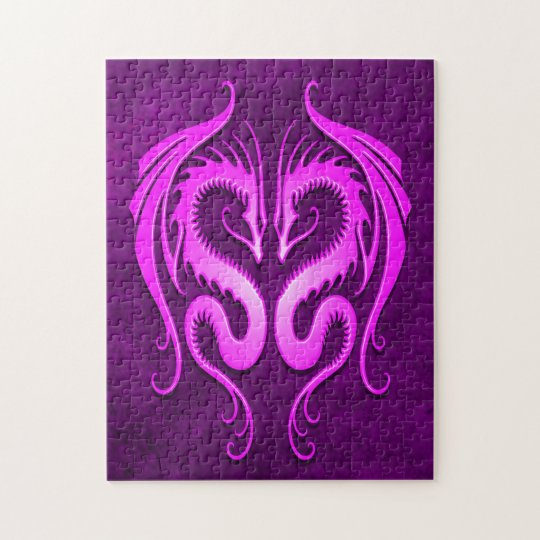 Purple Tribal Dragons Jigsaw Puzzle