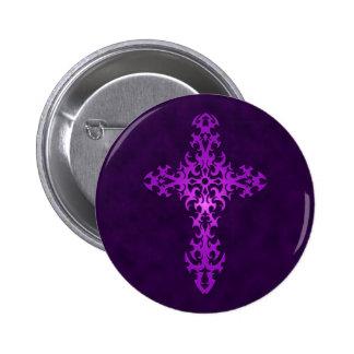Purple Tribal Gothic Cross Pinback Button