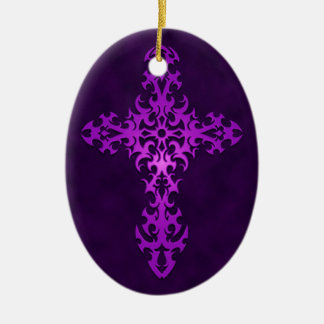 Purple Tribal Gothic Cross Ornament