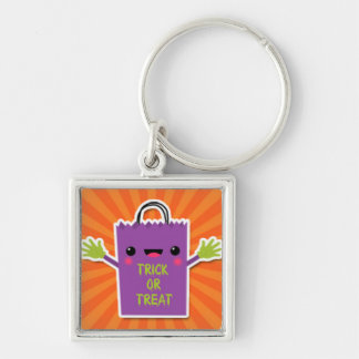 Purple Trick or Treat Bag.jpg Silver-Colored Square Key Ring