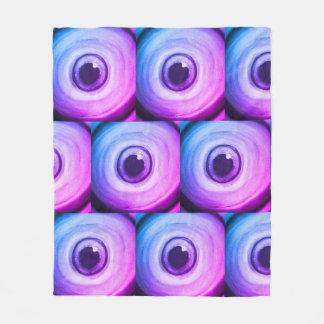 Purple trippy psychedelic eye art fleece blanket