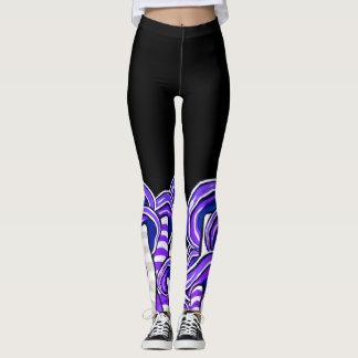Purple Trippy Psychedelic Mushrooms Hippie Print Leggings