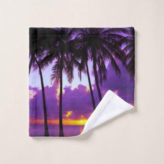 Purple Tropical Sunset Wash Cloth