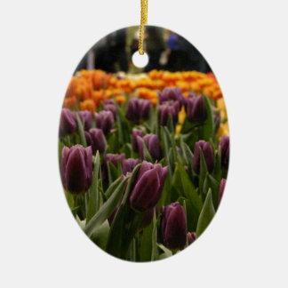 Purple Tulip Ceramic Oval Decoration