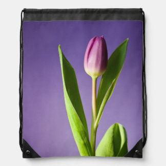 Purple tulip drawstring bag