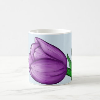 Purple Tulip Floral Love Personalized Blue Mugs