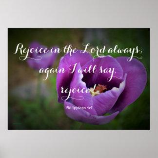 Purple Tulip Philippians 4:4 Poster