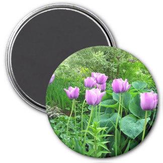 Purple Tulips 7.5 Cm Round Magnet