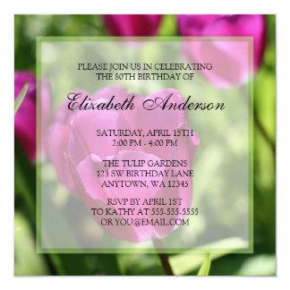 """Purple Tulips 80th Birthday Party Invitations 5.25"""" Square Invitation Card"""