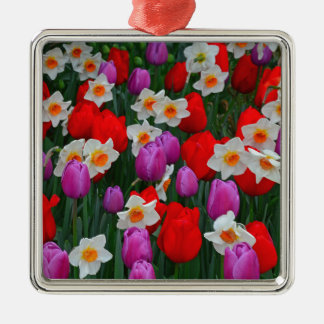 Purple tulips and white daffodils garden christmas ornaments