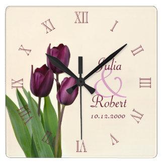 Purple tulips anniversary wallclock