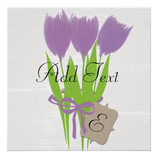 Purple Tulips Bouquet Watercolor Art Poster