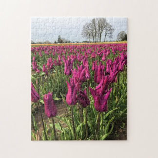 Purple Tulips in the Field Jigsaw Puzzle