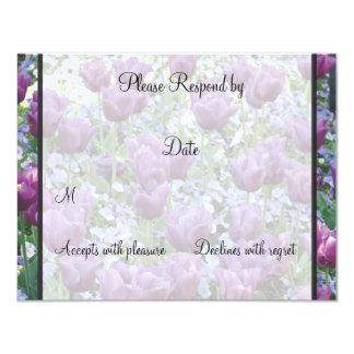 Purple Tulips matching rsvp 11 Cm X 14 Cm Invitation Card