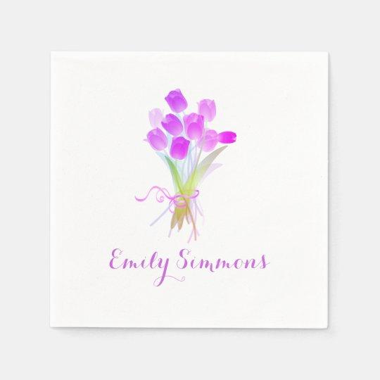Purple Tulips & Name - Cocktail Napkin Paper Napkin