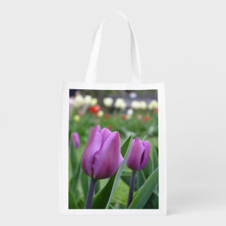 Purple Tulips Reusable Tote Bag