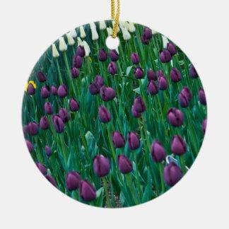 Purple Tulips Round Ceramic Decoration