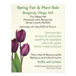 Purple tulips spring fair or plant sale 21.5 cm x 28 cm flyer