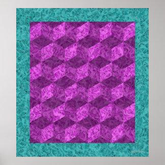 Purple Tumbling Blocks Posters