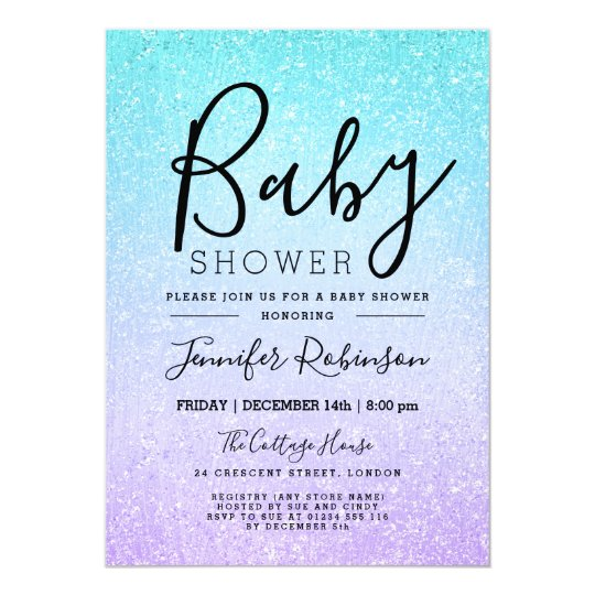 Purple & Turquoise Baby Shower Glitter Look Paint Card