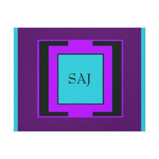 Purple & Turquoise Bold Monogram Canvas Print