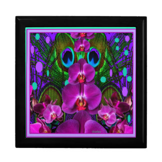Purple-Turquoise Color Orchid Pattern Gifts Large Square Gift Box
