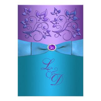Purple, Turquoise Floral Monogram Wedding Invite