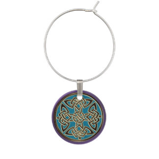 Purple Turquoise Gold Celtic Dara Knot Wine Charm