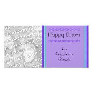 purple turquoise Happy Easter Personalised Photo Card