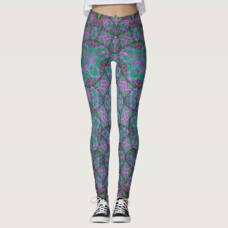 purple/turquoise kaleidoscope leggings