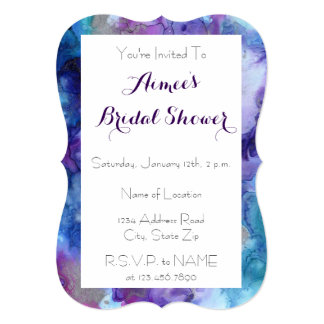 Purple & Turquoise Marble Bridal Shower Invitation