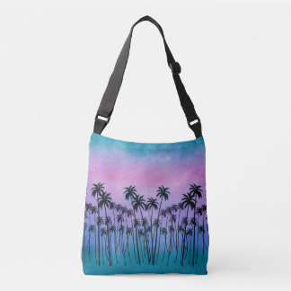 Purple-turquoise Palmtrees Crossbody Bag