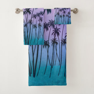 Purple-turquoise PalmTrees with or without Initial Bath Towel Set