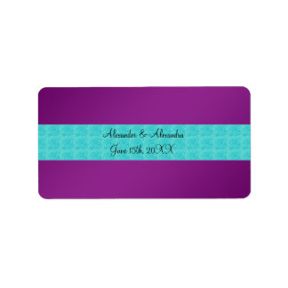 Purple turquoise roses wedding favors address label