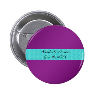 Purple turquoise roses wedding favors pin