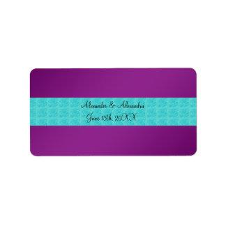 Purple turquoise roses wedding favors address label