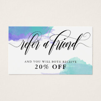 Purple Turquoise Smudge Calligraphy Refer A Friend Business Card