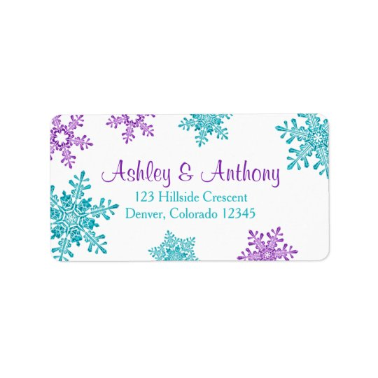 Purple Turquoise Snowflake Wedding Return Address Address Label