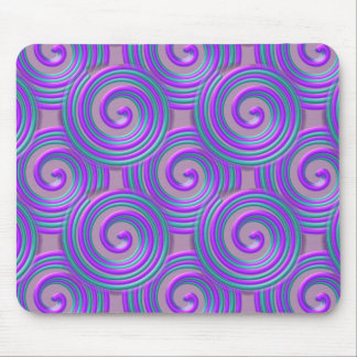 Purple Turquoise Spirals Mousepad