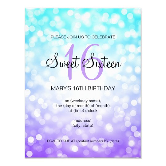 Purple Turquoise Sweet 16 Birthday Glitter Lights Card