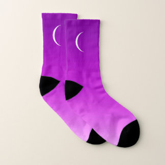 Purple Twilight Sky with Crescent  Moon Socks