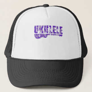 purple ukulele trucker hat